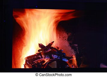 Close up view of set of nice view of burning wood in fire place