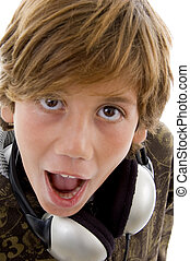 close up view of shocked boy with headphone
