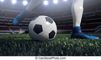 close up view of soccer ball and player leg. shooting to the goal in slow motion