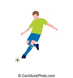 Close-up view of soccer player with the ball on a white background