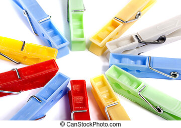 colorful cloth pegs - Close up view of some colorful cloth...