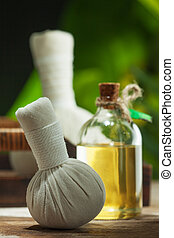 close up view of spa theme objects