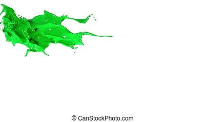 splashing spilling green fluid in slow motion
