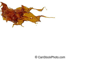 splashing spilling orange fluid in slow motion