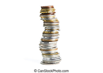 close up view of stack of various coins isolated on white
