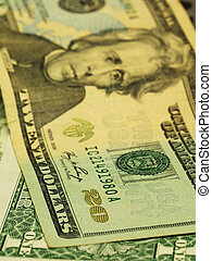 Close up view of the $20 bill
