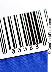 Close up view of the bar code isolated on blue