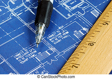 Close up view of the blue print