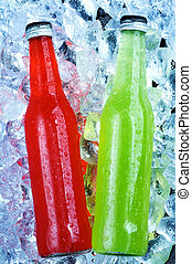 view of the bottles in ice