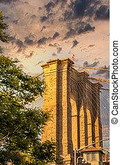 Close up view of the Brooklyn bridge