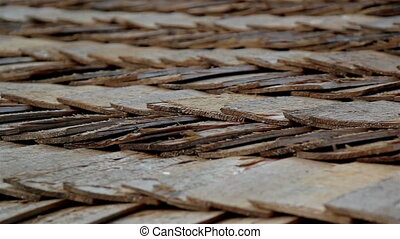 Close-up view of the cabin wooden cedar shingle shake roof