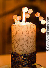 Close up view of the candle.
