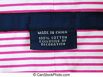 Close up view of the clothing label