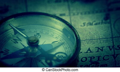 Close up view of the compass on a blue vision
