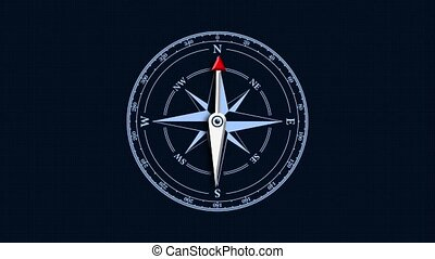 Compass dial with an arrow on a blue background. Vintage compass dial, seamless loop