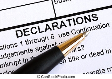 Close up view of the declaration