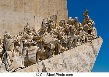 Close-up view of the Discoveries Monument in Lisbon,...