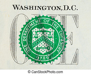 Close up view of the Dollar bill