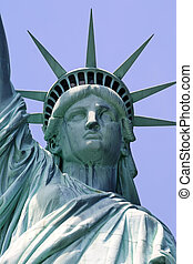 Statue of Liberty - Close up view of the face of the Statue ...