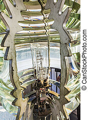 Close up view of the fresnel lens inside a lighthouse