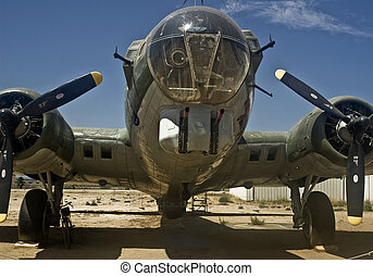 B-17 Bomber - Close-up view of the front of a B-17 Bomber.