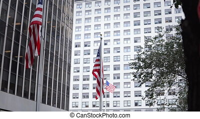 Close-up view of the offices in skyscrapers building from...