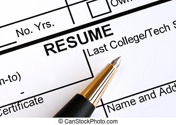 Close up view of the resume section