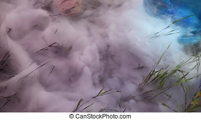 Close up view of the smoke meadow grass. Smoke on the grass...