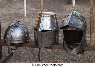 Medieval battle helmets