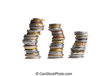 close up view of three stacks of coins isolated on white