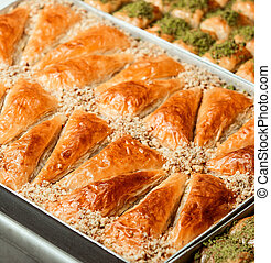 close up view of turkish pastries on a tray