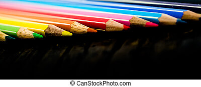 close up view of various colored pencils