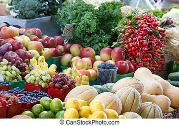 Close-up view of various fruits and vegetables