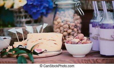 Close-up view of wedding food bar. Summer wedding snack...