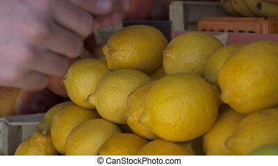 Close up view of young man hands choosing the lemons at the fruit market