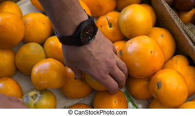 Close up view of young man hands choosing the yellow tomatoes at the fruit market