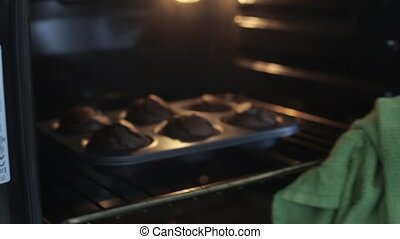 Close-up view of young woman opens the oven and gets out the...