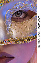 Close up view of young woman wearing mask