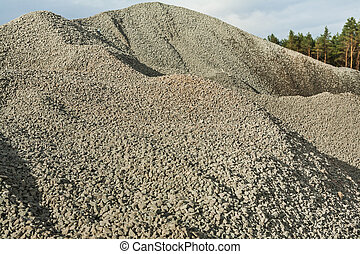 close up view on big pile of gravel