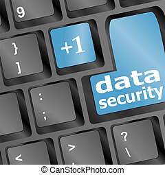 Close up view on conceptual keyboard - data security