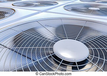 Close up view on HVAC units (heating, ventilation and air...
