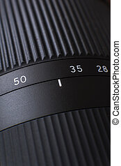 Close-up view on lens of digital camera.