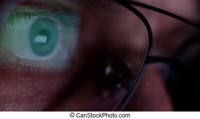 Close up view on male eye in glasses looking at pc monitor at night. Internet surfing and addiction. Man feels different emotions, he is excited and nervous.