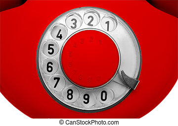 old red telephone dial