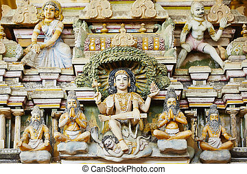 Hindu Temple - Close up view on sculpture of Hindu Temple in...