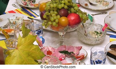 Close-up view on table full of food at banquet