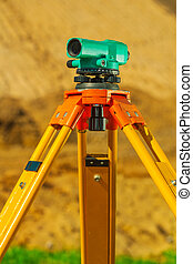 close up view on theodolite