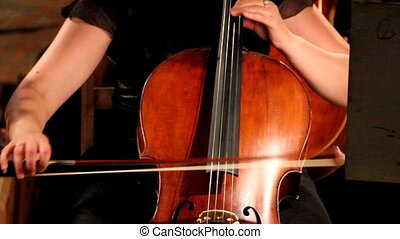 violoncello in orchestra - close-up view on violoncello in...