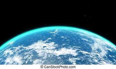 Close up view over the earth in space