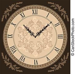 Close-up vintage clock with vignette arrows - Illustration...